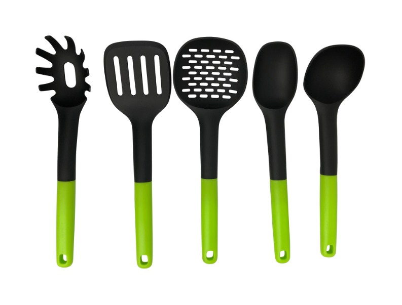 5 PIECE PLASTIC KITCHEN UTENSILS SET Spatula Spoon Strainer Ladle